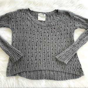 Kensie Open Knit Chunky Metallic Gray Sweater
